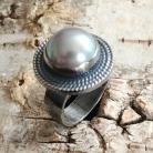 Pierścionki perła,srebrny,srebro,retro,biel,uroczy,okaz,szary
