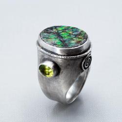 srebro,ammolit,oliwin - Pierścionki - Biżuteria