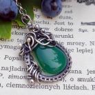 Naszyjniki zielony onyks,srebrny naszyjnik,wire wrapping