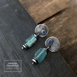 szkło afgańskie,surowe,srebro - Kolczyki - Biżuteria