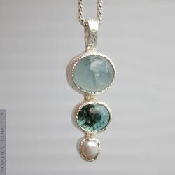 Akwamaryn,apatyt,perla,prosty,fakturowany - Wisiory - Biżuteria