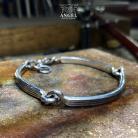 Dla mężczyzn surowa męska biżuteria,bransoleta ze srebra