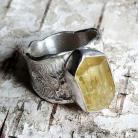 Pierścionki APATYT,ciężki,srebrny,surowy,złocisty,retro,blask,