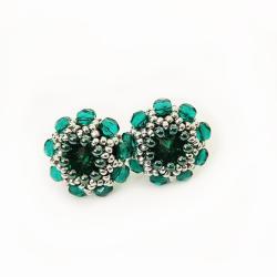 Kolczyki Swarovski Szmaragdowe Kwiatuszki sztyft - Kolczyki - Biżuteria