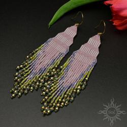 indiańskie,długie,z frędzlami,pastelowe,na lato - Kolczyki - Biżuteria