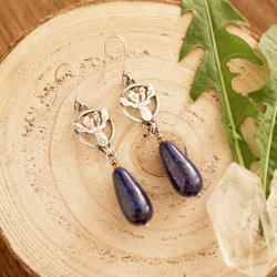 chaber,kolczyki z chabrem,kwiaty polne,srebrne - Kolczyki - Biżuteria