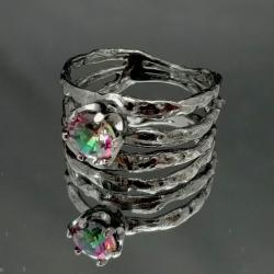 kwarc różowy,blask,srebro,oksyda,różowy,retro - Pierścionki - Biżuteria