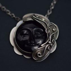 naszyjnik,wisior,filigran,księżyc,turmalin - Naszyjniki - Biżuteria
