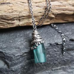 naszyjnik srebrny,szkło afgańskie,srebro - Naszyjniki - Biżuteria