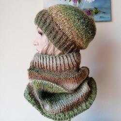czapka na drutach,komin na drutach,rękodzieło - Szale, apaszki - Dodatki