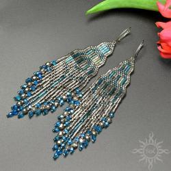 indiańskie,długie,z frędzlami,srebrne,na lato,woda - Kolczyki - Biżuteria