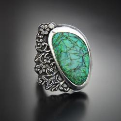 srebrny,pierścionek,z opalem monarch,okazały - Pierścionki - Biżuteria