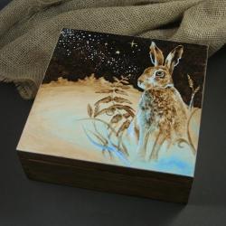 treasure box z zającem,pudełko,szkatułka,zając - Pudełka - Wyposażenie wnętrz