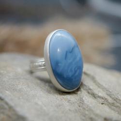opal niebieski,pierścionek z opalem,ornament, - Pierścionki - Biżuteria