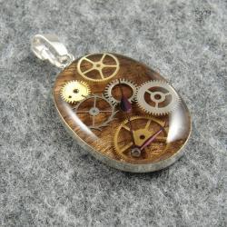 zawieszka,owalna,steampunk,tryby - Wisiory - Biżuteria