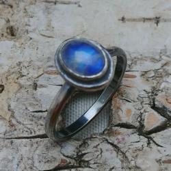 ksieżycowy,księzyc,srebrny,szary,błękitny,retro - Pierścionki - Biżuteria