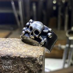 obrączka z czaszką,surowa męska biżuteria - Dla mężczyzn - Biżuteria