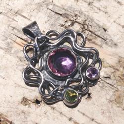 aleksadryt,srebrny,szary,zieleń,retro,ametyst - Wisiory - Biżuteria