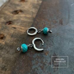 srebro,turkus - Kolczyki - Biżuteria