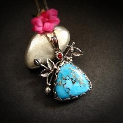 srebrny wisiorek,niebieski turkus - Naszyjniki - Biżuteria