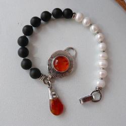 z perłami,bałtycki bursztyn,boho - Bransoletki - Biżuteria