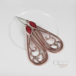 miedziane kolczyki,czerwone kolczyki,ażurowe - Kolczyki - Biżuteria