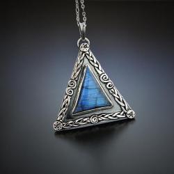 srebrny,geomatryczny,wisior,z labradorytem - Naszyjniki - Biżuteria