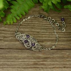 bransoletka,regulowana,ametyst,wire wrapping - Bransoletki - Biżuteria