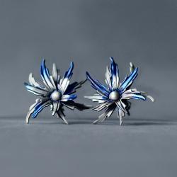 kolczyki niebieskie kwiatki, - Kolczyki - Biżuteria