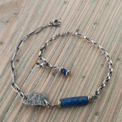 bransoletka z granatowym szkłem antycznym,afgańsk - Bransoletki - Biżuteria