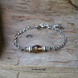 kwarc dymny,brązowa bransoleta - Bransoletki - Biżuteria