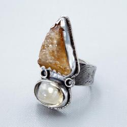 pierścionek z ognistym cytrynem - Pierścionki - Biżuteria