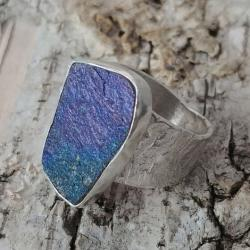 chalkopiryt,polski,minerał,srebrny,srebro,retro - Pierścionki - Biżuteria