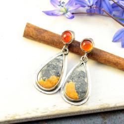 srebrne kolczyki z jaspisem i karneolem - Kolczyki - Biżuteria
