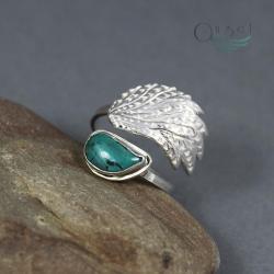 pierścionek skrzydło,pierścionek z turkusem - Pierścionki - Biżuteria