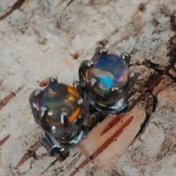 opale,srebrne,oksyda,blask,tęczowe,srebrny,retro - Kolczyki - Biżuteria
