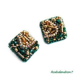 delikante kolczyki haft koralikowy,zieleń - Kolczyki - Biżuteria