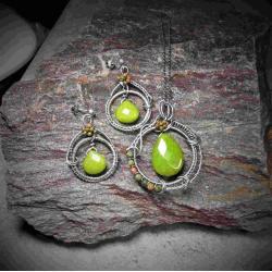 komplet biżuterii z zielonym jadeitem,srebro - Komplety - Biżuteria