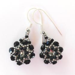 kolczyki czarne Kwiatuszki Swarovski Srebro - Kolczyki - Biżuteria