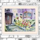 Obrazy akwarela,kwiaty,domek,bajkowy