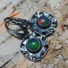 Kolczyki opal,srebrne,baśniowy,retro,teczowe,srebro,zieleń