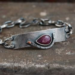 bransoleta ze srebra,złota,rubinu - Bransoletki - Biżuteria