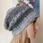Inne czapka na drutach,rękodzieło,czerń z bielą