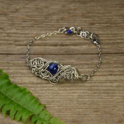 bransoletka,regulowana,lapis lazuli,wire wrapping - Bransoletki - Biżuteria