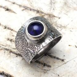 iolit,kordieryt,retro,srebrny,ametyst,blask,srebro - Pierścionki - Biżuteria