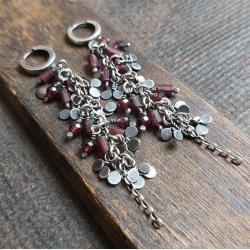 kolczyki wiszące,kolczyki z granatami,na prezent - Kolczyki - Biżuteria