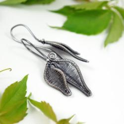 srebrne listki,lekkie wiszące kolczyki na lato - Kolczyki - Biżuteria