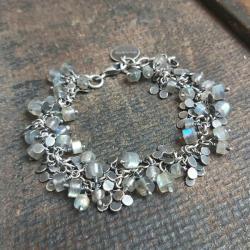bransoletka srebrna,bransoletka z labradorytami - Bransoletki - Biżuteria