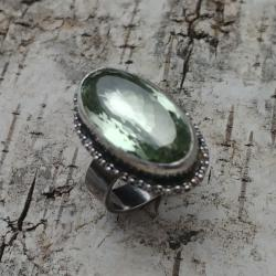 PRASIOLIT,srebrny,srebro,zieleń,retro,unikat,retro - Pierścionki - Biżuteria