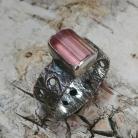Pierścionki turmalin,blask,srebrny,srebro,różowy,minerał,styl